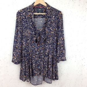 Anthropologie Maeve Floral Tie Neck Swing Blouse M